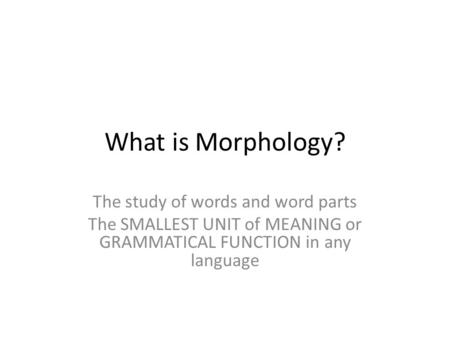What is Morphology? The study of words and word parts The SMALLEST UNIT of MEANING or GRAMMATICAL FUNCTION in any language.