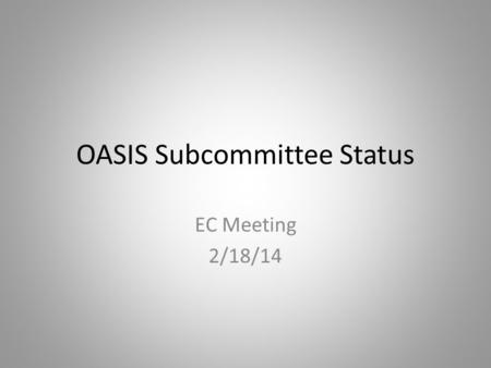 OASIS Subcommittee Status EC Meeting 2/18/14. Preemption and Competition Annual Plan Items Affected 2013 AP Item 2(a) Develop version 2 business practice.