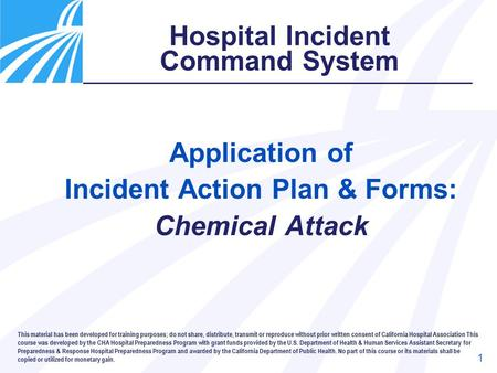 Application of Incident Action Plan & Forms: Chemical Attack