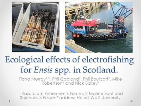 Ecological effects of electrofishing for Ensis spp. in Scotland. Fiona Murray 1,3, Phil Copland 2, Phil Boulcott 2, Mike Robertson 2 and Nick Bailey 2.