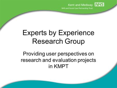 Experts by Experience Research Group Providing user perspectives on research and evaluation projects in KMPT.