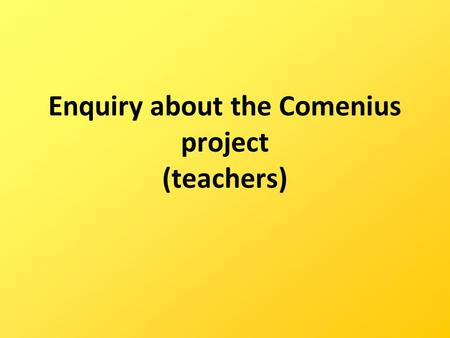 Enquiry about the Comenius project (teachers). How well do you think your team was working?