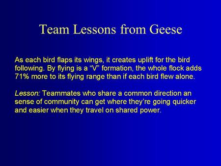 Team Lessons from Geese When the lead goose tires, it rotates back into the formation and another goose flies at the point position. Lesson: It pays.