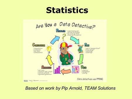 Statistics Based on work by Pip Arnold, TEAM Solutions.