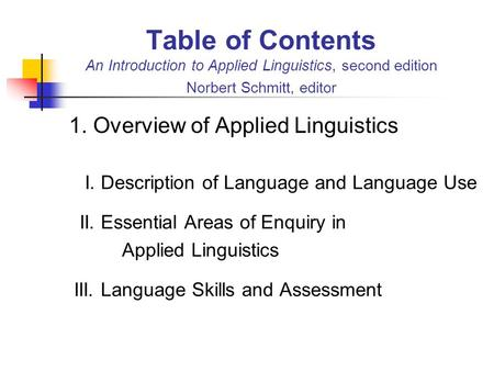 1. Overview of Applied Linguistics