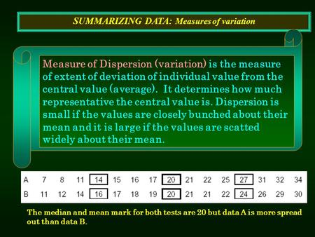 SUMMARIZING DATA: Measures of variation Measure of Dispersion (variation) is the measure of extent of deviation of individual value from the central value.