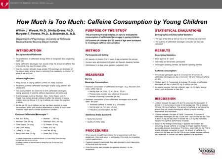 How Much is Too Much: Caffeine Consumption by Young Children William J. Warzak, Ph.D., Shelby Evans, Ph.D., Margaret T. Floress, Ph.D., & Stoolman, S.,