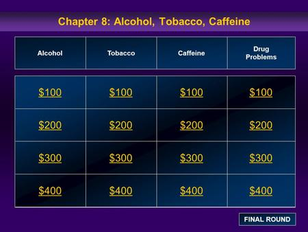 Chapter 8: Alcohol, Tobacco, Caffeine $100 $200 $300 $400 $100$100$100 $200 $300 $400 AlcoholTobaccoCaffeine Drug Problems FINAL ROUND.