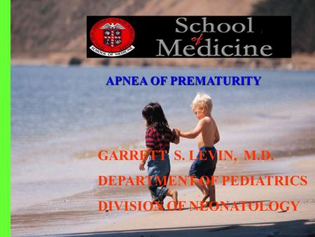 GARRETT S. LEVIN, M.D. DEPARTMENT OF PEDIATRICS DIVISION OF NEONATOLOGY APNEA OFPREMATURITY APNEA OF PREMATURITY.