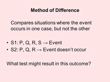Method of Difference Compares situations where the event occurs in one case, but not the other S1: P, Q, R, S → Event S2: P, Q, R → Event doesn't occur.