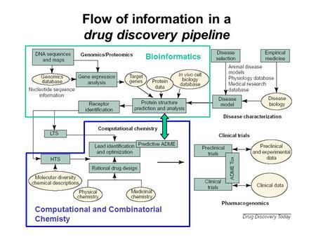 1 Flow of information in a drug discovery pipeline Bioinformatics Computational and Combinatorial Chemisty.