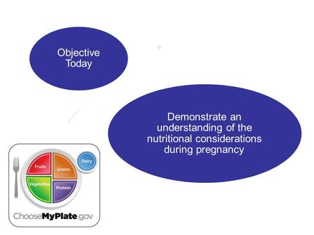 Objective Today Demonstrate an understanding of the nutritional considerations during pregnancy.