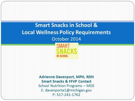 the significance of implementing smart school snacks in american schools