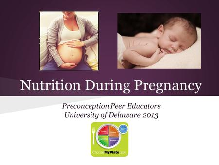 Nutrition During Pregnancy Preconception Peer Educators University of Delaware 2013.