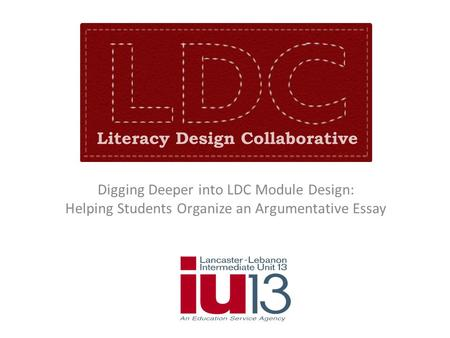 Digging Deeper into LDC Module Design: Helping Students Organize an Argumentative Essay.