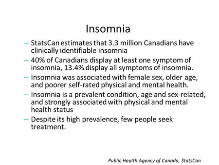 Insomnia – StatsCan estimates that 3.3 million Canadians have clinically identifiable insomnia – 40% of Canadians display at least one symptom of insomnia,