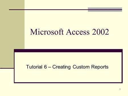 1 Microsoft Access 2002 Tutorial 6 – Creating Custom Reports.