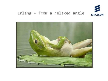 Slide title 70 pt CAPITALS Slide subtitle minimum 30 pt Erlang – from a relaxed angle.