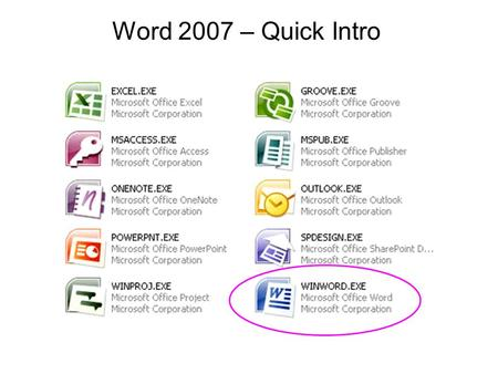 Word 2007 – Quick Intro. The user interface has been redesigned in the Office 2007 programs: Word, Excel, PowerPoint, Access, and Outlook (in the composing.