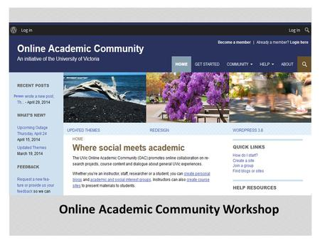 Instructor: David Shaykewich | Online Academic Community Workshop.