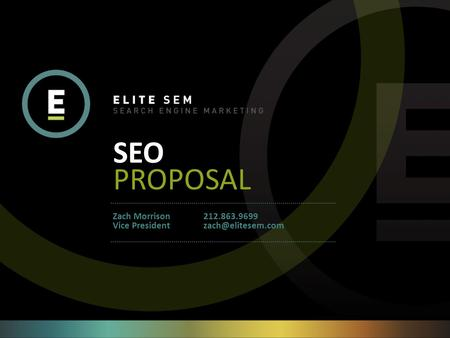 SEO PROPOSAL 212.863.9699 Zach Morrison Vice President.