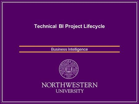 Technical BI Project Lifecycle Business Intelligence.