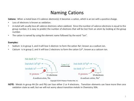 1 Naming Cations Cations: When a metal loses it's valence electron(s) it becomes a cation, which is an ion with a positive charge. Loss of electrons is.