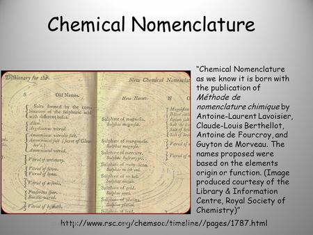 "Chemical Nomenclature ""Chemical Nomenclature as we know it is born with the publication of Méthode de nomenclature chimique by Antoine-Laurent Lavoisier,"