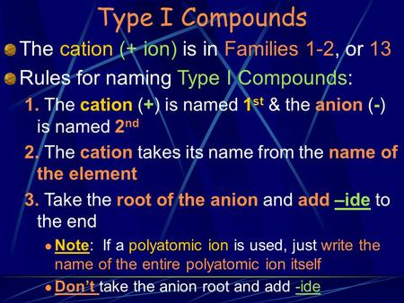 Type I Compounds The cation (+ ion) is in Families 1-2, or 13 Rules for naming Type I Compounds: 1. The cation (+) is named 1 st & the anion (-) is named.