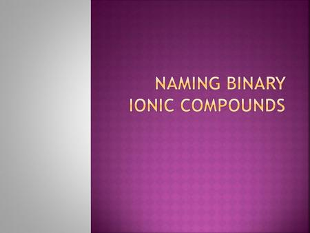 Chemists name a compound according to the atoms and bonds that compose it. To name a binary ionic compound, simply write the name of the cation followed.