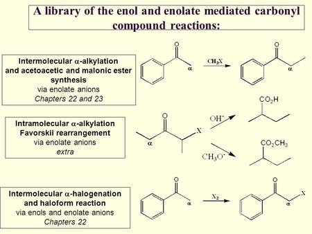 A library of the enol and enolate mediated carbonyl compound reactions: Intermolecular  -alkylation and acetoacetic and malonic ester synthesis via enolate.