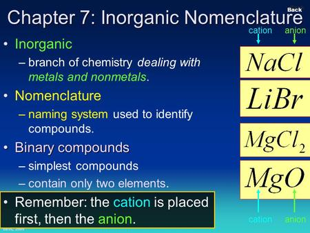 Bires, 2009 Slide 1 Back Chapter 7: Inorganic Nomenclature Inorganic –branch of chemistry dealing with metals and nonmetals. Nomenclature –naming system.