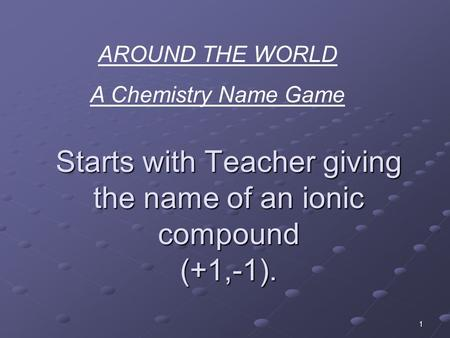 1 Starts with Teacher giving the name of an ionic compound (+1,-1). AROUND THE WORLD A Chemistry Name Game.