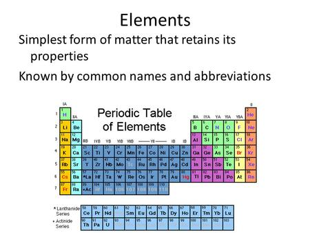 Elements Simplest form of matter that retains its properties Known by common names and abbreviations.