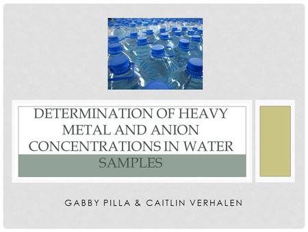 GABBY PILLA & CAITLIN VERHALEN DETERMINATION OF HEAVY METAL AND ANION CONCENTRATIONS IN WATER SAMPLES.