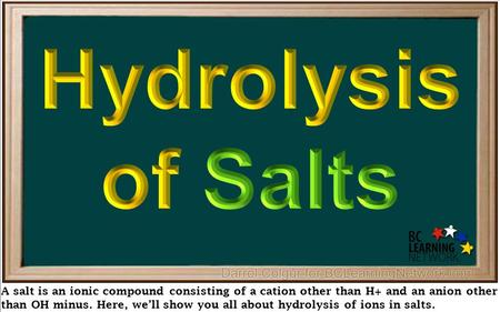A salt is an ionic compound consisting of a cation other than H+ and an anion other than OH minus. Here, we'll show you all about hydrolysis of ions in.