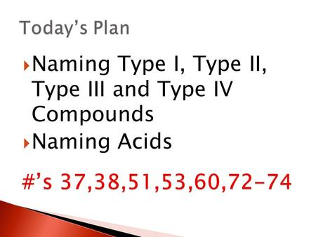 Naming Type I, Type II, Type III and Type IV Compounds