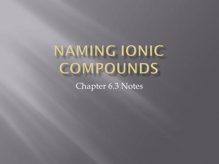 Chapter 6.3 Notes. 1. Naming Ionic Compounds a. The name of an ionic compound must distinguish the compound from other ionic compounds containing the.