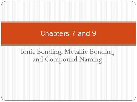 Ionic Bonding, Metallic Bonding and Compound Naming Chapters 7 and 9.