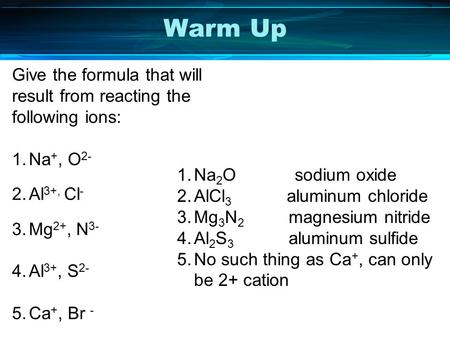 Warm Up Give the formula that will result from reacting the following ions: 1.Na +, O 2- 2.Al 3+, Cl - 3.Mg 2+, N 3- 4.Al 3+, S 2- 5.Ca +, Br - 1.Na 2.