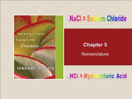 Chapter 5 Nomenclature. Naming Compounds Return to TOC Copyright © Cengage Learning. All rights reserved 2 5.1 Naming Compounds 5.2 Naming Binary Compounds.
