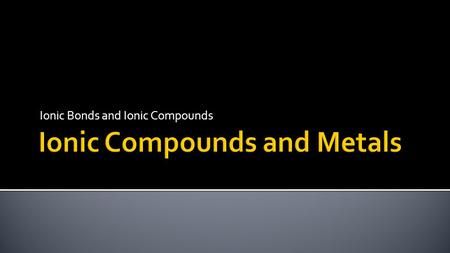 Ionic Bonds and Ionic Compounds.  Describe the formation of ionic bonds.  Write formulas for ionic compounds and oxyanions.  Apply naming conventions.