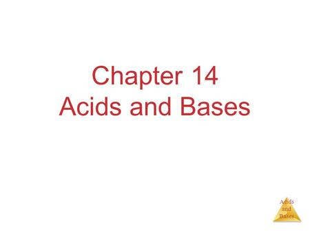 Acids and Bases Chapter 14 Acids and Bases. Acids and Bases Some Definitions Arrhenius  Acid:Substance that, when dissolved in water, increases the concentration.