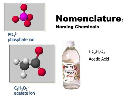Nomenclature : Naming Chemicals PO 4 3- phosphate ion C 2 H 3 O 2 - acetate ion HC 2 H 3 O 2 Acetic Acid.