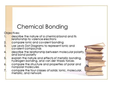 Chemical Bonding Objectives: 1.describe the nature of a chemical bond and its relationship to valence electrons 2.compare ionic and covalent bonding 3.use.