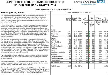 The outturn financial position for the Trust at 31 March 2015 was a surplus of £0.27m compared to a revised plan surplus of £0.2m summited to Monitor in.