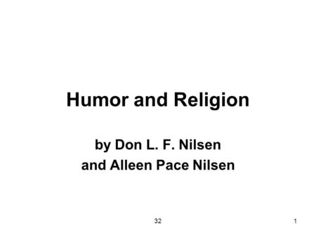 321 Humor and Religion by Don L. F. Nilsen and Alleen Pace Nilsen.