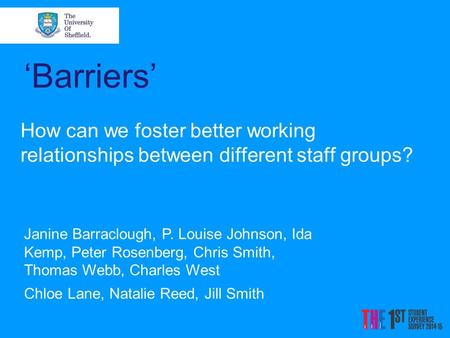 'Barriers' How can we foster better working relationships between different staff groups? Janine Barraclough, P. Louise Johnson, Ida Kemp, Peter Rosenberg,