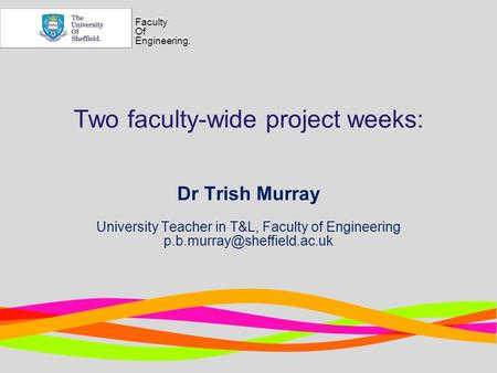 Faculty Of Engineering. Faculty Of Engineering. Two faculty-wide project weeks: Dr Trish Murray University Teacher in T&L, Faculty of Engineering
