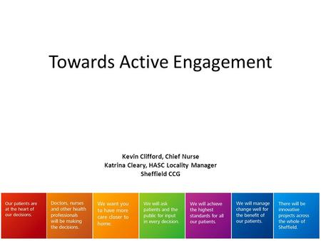 Kevin Clifford, Chief Nurse Katrina Cleary, HASC Locality Manager Sheffield CCG Towards Active Engagement.